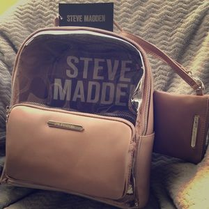 Steve Madden Faux Leather Backpack with wristlet